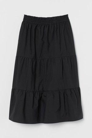 Voluminous Cotton Skirt - Black