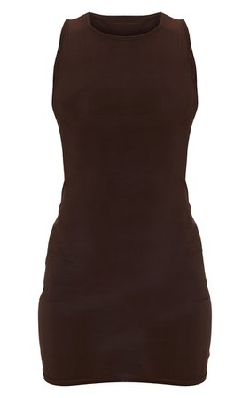 Chocolate Slinky Sleeveless Cut Out Back Bodycon Dress   PrettyLittleThing USA