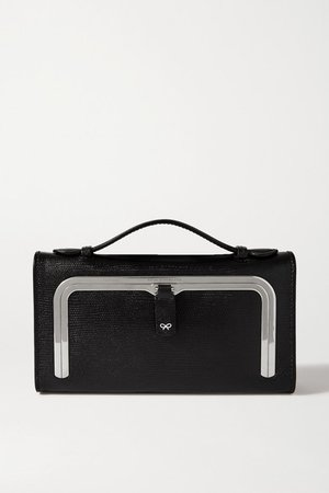 Postbox Lizard-effect Leather Tote - Black