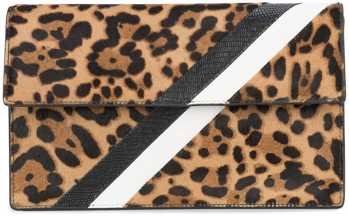 Tomasini leopard print stripe clutch bag