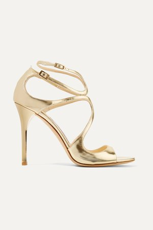 Gold Lang 100 metallic leather sandals | Jimmy Choo | NET-A-PORTER