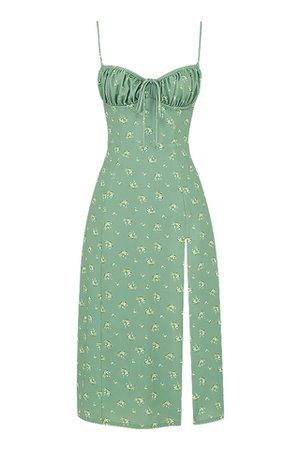 Clothing : Midi Dresses : 'Carina' Olive Floral Bustier Midi Dress