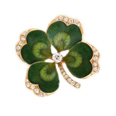 1910 Edwardian 4 Leaf Clover Brooch with Diamonds, Yellow Gold, Enamel For Sale at 1stdibs