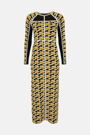 Geo Jacquard Knit Column Dress | Karen Millen