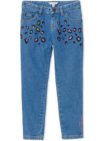 Shop blue The Marc Jacobs Kids cheetah print jeans with Express Delivery - Farfetch