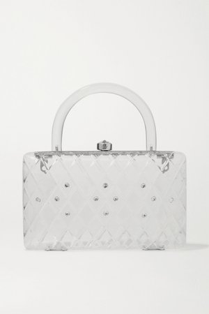 White Rio crystal-embellished acrylic tote | HVN | NET-A-PORTER