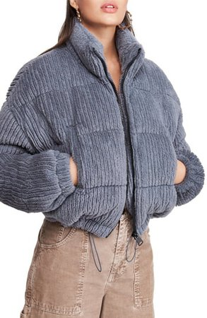 Fluffy Corduroy Crop Puffer Jacket