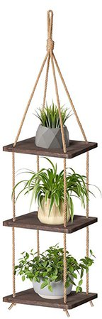 Mkono Wood Hanging Planter Shelf Plant Hanger 3 Tier Decorative Flower Pot Rack with Jute Rope Home Decor, 43 Inch: Amazon.ca: Home & Kitchen