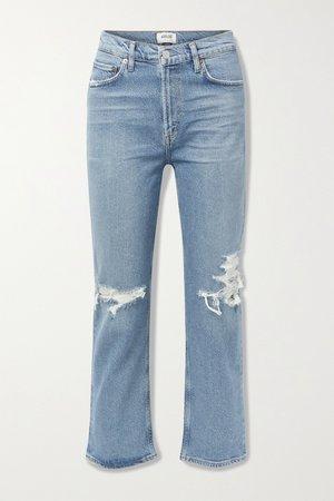 Mid denim + NET SUSTAIN Wilder organic distressed high-rise straight-leg jeans | AGOLDE | NET-A-PORTER