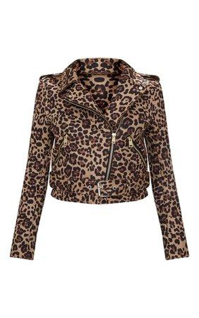 Leopard Print Biker   Coats & Jackets   PrettyLittleThing