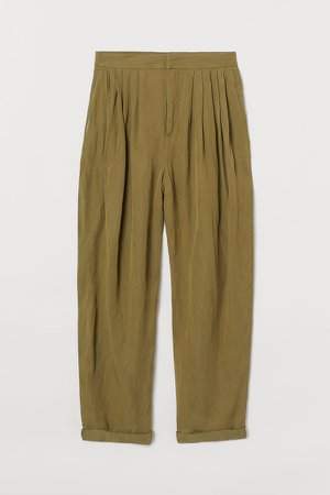 Wide-leg Twill Pants - Yellow