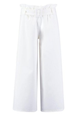 The Tailored Paperbag Waist Belted Culotte   Boohoo white