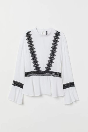 Blouse with Lace - White