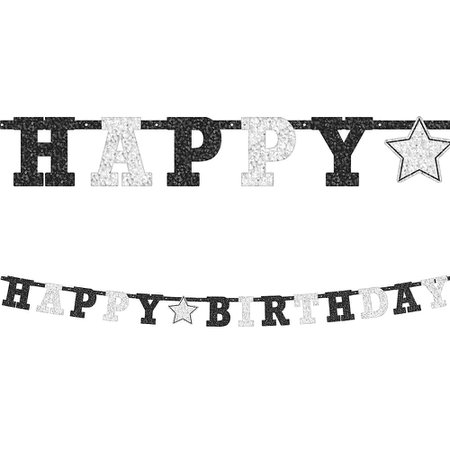 Prismatic Black & White Happy Birthday Letter Banner 7 3/4ft | Party City Canada