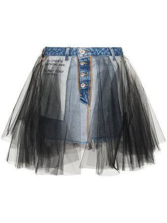 Unravel Project Denim and tulle mini-skirt $641 - Shop SS19 Online - Fast Delivery, Price