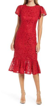 Lace Ruffle Hem Sheath Dress