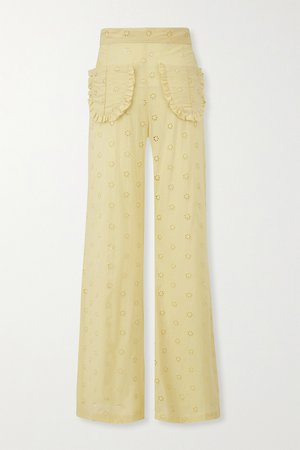 Pastel yellow Holly ruffled broderie anglaise cotton wide-leg pants   Lisa Marie Fernandez   NET-A-PORTER