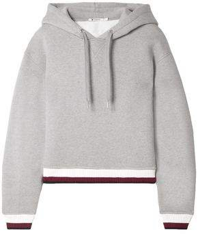 Cropped Cotton-blend Fleece Hoodie