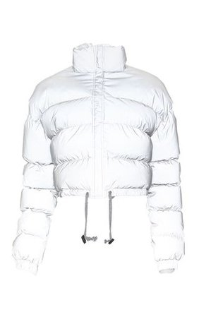 Grey Reflective Puffer Jacket | PrettyLittleThing USA