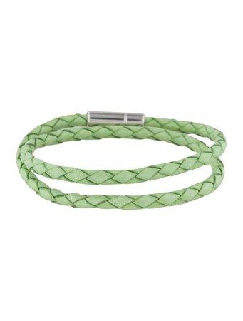 Tateossian Light Green Leather Double Wrap Bracelet - Bracelets - TSS20191 | The RealReal