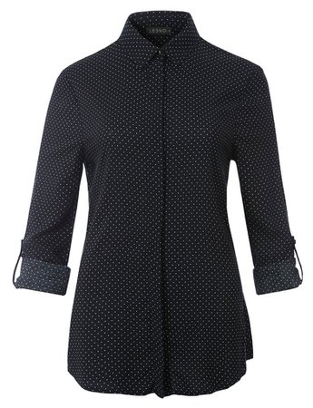 LE3NO Womens Relaxed Fit Polka Dot Hidden Button Down Long Sleeve Blouse Shirt Top   LE3NO black