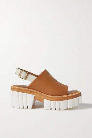 Emilie Vegetarian Leather Slingback Platform Sandals - Tan