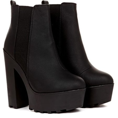 Rena Matt PU Heeled Chunky Ankle Boot in Black