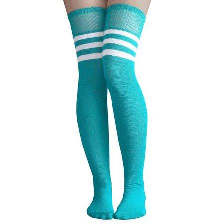 teal thigh high socks