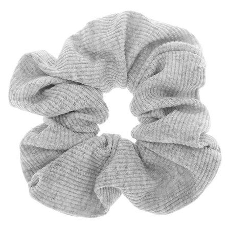 Medium Ribbed Hair Scrunchie - Light Grey | Claire's