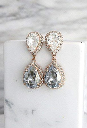 Amazon.com: Bridal Dusty Blue and White Chandelier Dangle Earrings, Swarovski Crystal Bridesmaids Gold Stud Teardrop Earrings, Handmade Wedding Jewelry: Handmade