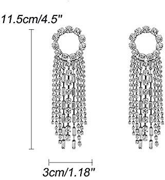 fxmimior Fashion Women Earrings Silver Tassel Full Rhinestones Ring Long Chain Drop Dangle Earrings