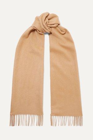 Camel Fringed cashmere scarf | Johnstons of Elgin | NET-A-PORTER