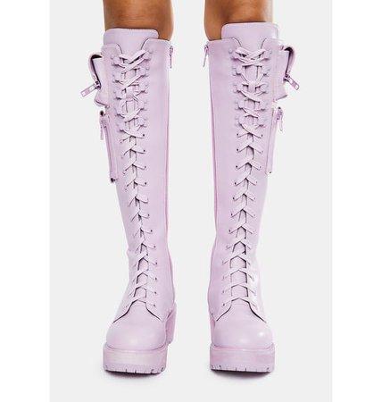 Sugar Thrillz Pastel Knee High Pocket Combat Boots - Lavender | Dolls Kill