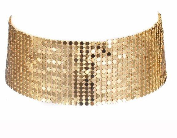 DANZE Pink Sequins Wide Mesh Gold Choker