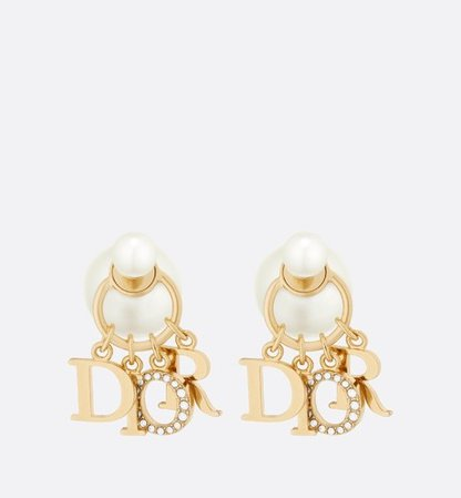Dior Tribales Earrings Gold-Finish Metal, White Resin Pearls and White Crystals - Fashion Jewelry - Women's Fashion | DIOR