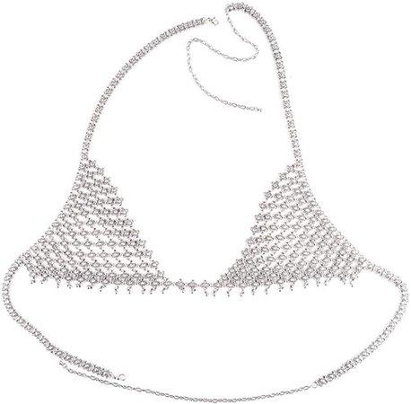 Amazon.com: idealway Sexy Girls Body Jewelry Silver Fashion Body Chain Necklace Hollow Out Underwear Bra Design: Jewelry
