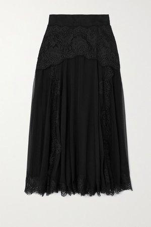 Lace And Silk-blend Chiffon Midi Skirt - Black