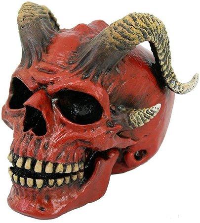 Red Demon Skull with Horns Halloween Figurine Devil Demonic Decoration New: Amazon.ca: Home & Kitchen