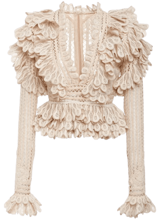 Beige Long Sleeve Lace Blouse | Dior Bella