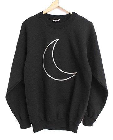 Silver Metallic Crescent Moon Black Crewneck Sweatshirt at Amazon Women's Clothing store