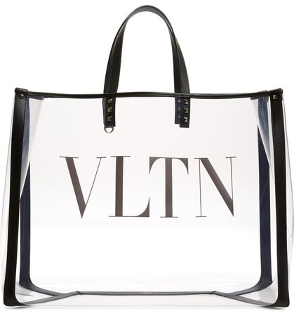 Valentino Garavani Large Grande Plage VLTN Logo Clear Tote | Nordstrom
