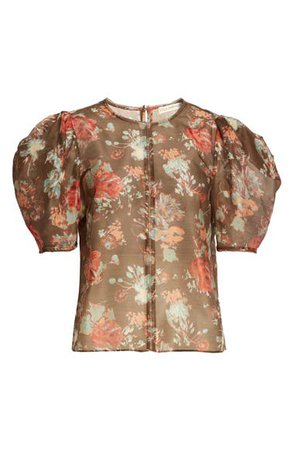Ulla Johnson Lise Floral Puff Sleeve Cotton & Silk Blouse | Nordstrom