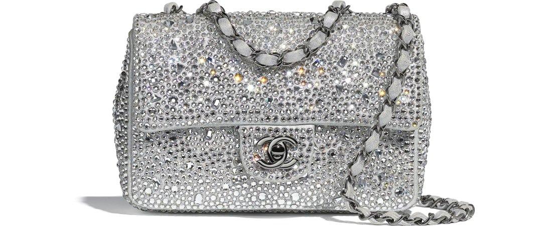 Flap Bag, strass, lambskin & ruthenium-finish metal, silver - CHANEL