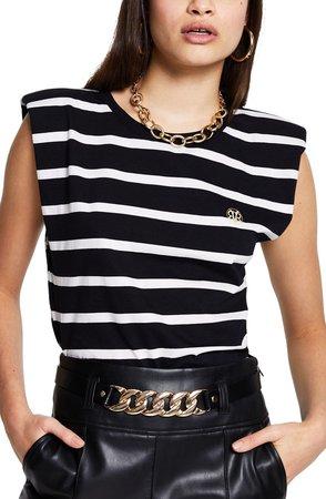 Shoulder Pad Stripe T-Shirt