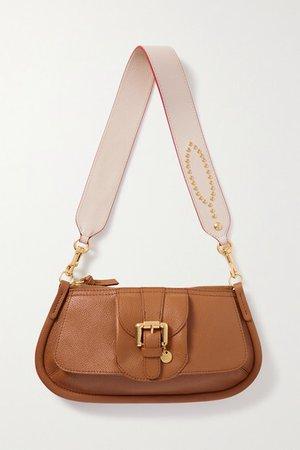 Lesly Embellished Textured-leather Shoulder Bag - Tan
