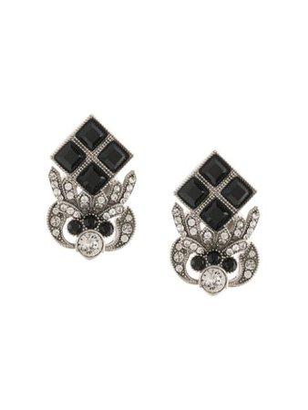 Black Dolce & Gabbana Rhinestone-Embellished Logo Earrings | Farfetch.com