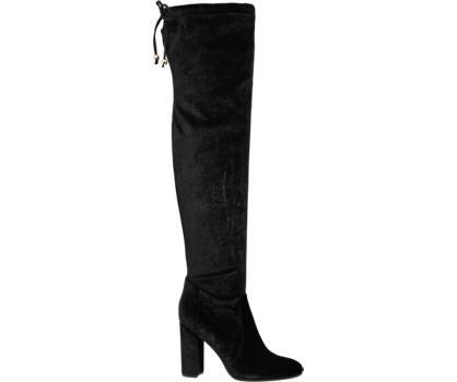 over the knee boots black velvet heels