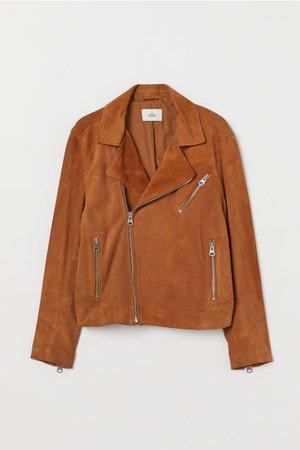 Suede biker jacket - Brown - Men | H&M GB