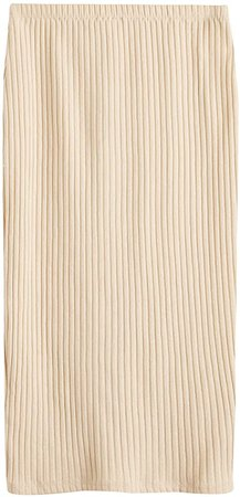 Amazon.com: SheIn Women's Basic Plain Stretchy Ribbed Knit Split Full Length Skirt: Clothing