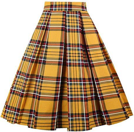OBBUE Dresstore Vintage Pleated Skirt Floral A-line Printed Midi Skirts with Pockets at Amazon Women's Clothing store